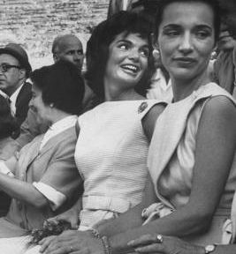 Jackie Kennedy with her sister Lee... I can see a strong family resemblance in Lee to her cousin Little Edie.