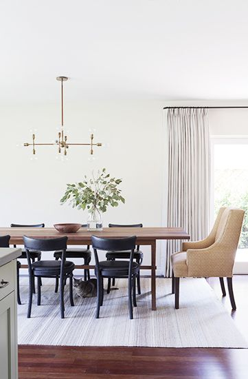 A Light, Bright, And California Cool Space// Bright Dining Room, Brass