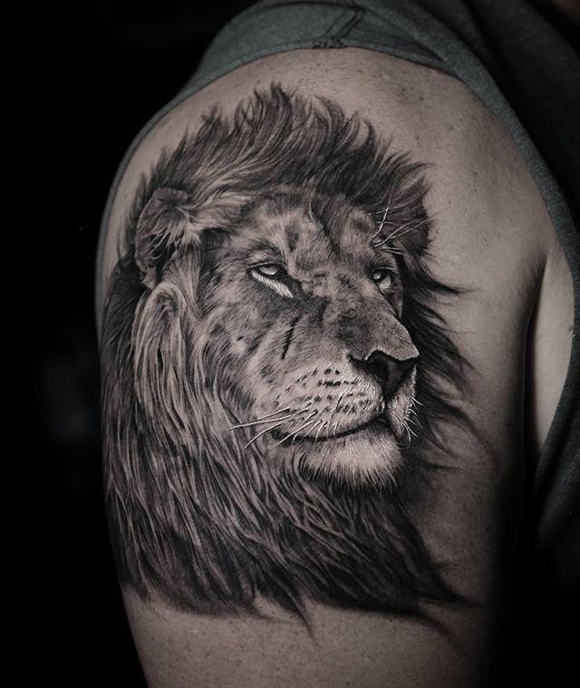 783cef9536437 50 Fascinating Linear Sketch Tattoo Art Design:Lion Shoulder Linear Sketch  Tattoo