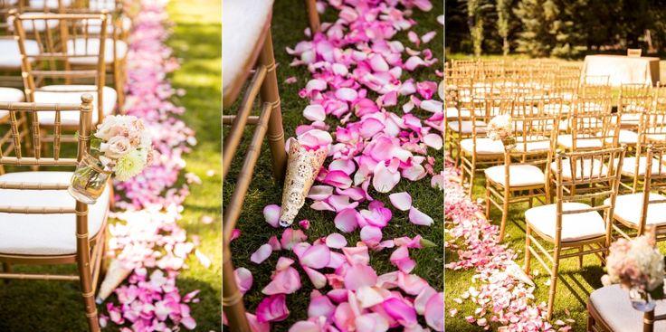outdoor wedding ceremony details gold chiavari chairs rose petals