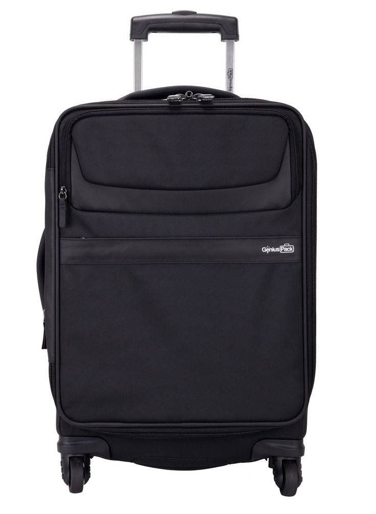 "Genius Pack G3 22"" Carry On Spinner Luggage - Smart, Organized, Lightweight Suitcase (Black)"