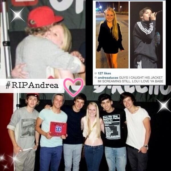 One direction remembering a fan, Andrea Lucas, who died of cystic fibrosis at age 17. #RIPAndrea let's get this trending!We can't let one of our own sisters not be honored!!Spread everwhere loves!Twitter Facebook etc etc