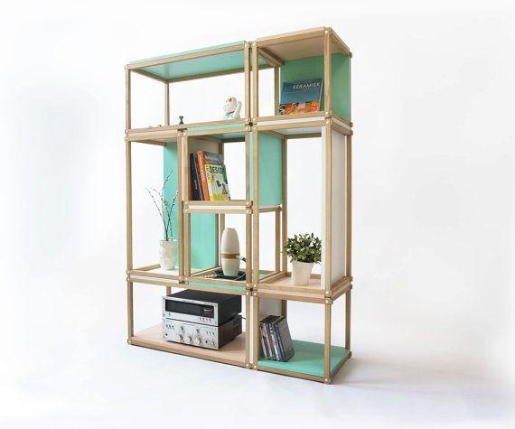 Stacks shelving furniture - multi function all stackable shelving - open bookshelf - bookcase -stool - box - room divider - side table -