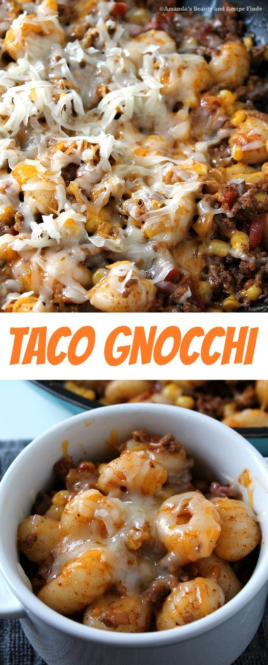 Quick and easy Taco Gnocchi - A filling combination of gnocchi, ground beef, Rotel, taco seasonings and more! All topped with yummy melted monterey and cheddar cheese. / myfindsonline.com