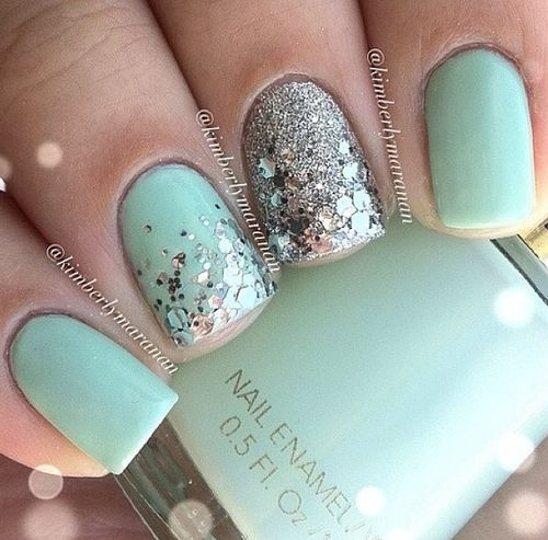Mint mani: Silver Glitter, Mint Green, Nails Art, Mint Nails, Nails Design, Color, Silver Nails, Glitter Nails, Nails Ideas