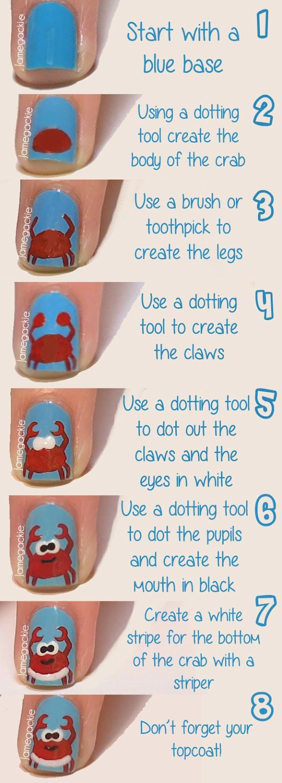 Happy Crab Nails Tutorial | Jamegackie I know I already pinned this, but I just HAD to pin the tutorial!