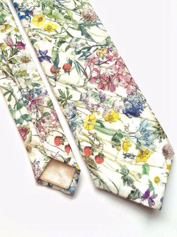 Floral tie Mens skinny tie wedding tie Liberty print by BeauTieUK