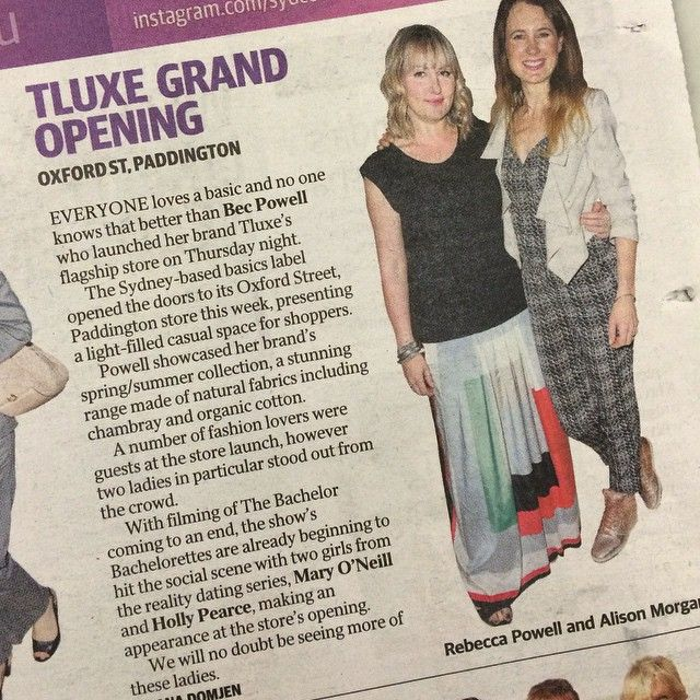 Sunday Telegraph with designer Bec Powell of Tluxe