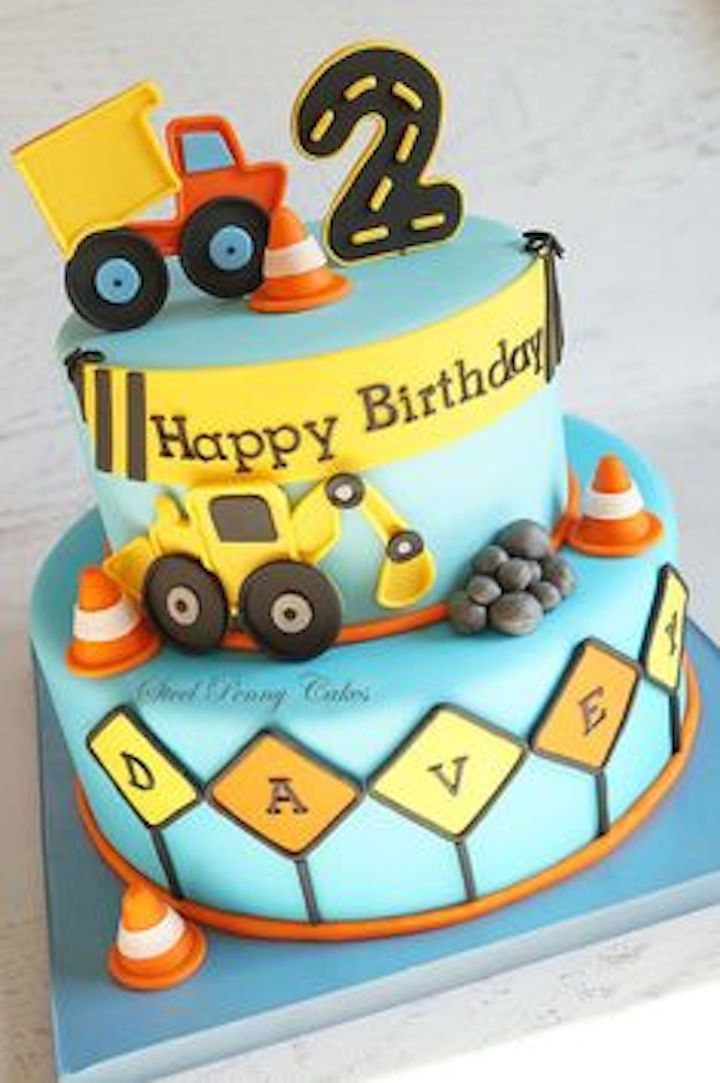 **(Cake)- Single layer. No digger. No banner. Bryce & Charlie below Happy Birthday. Construction Signs next to Names. Cones randomly placed. Dump truck colors changed.