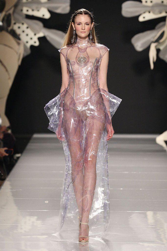 Encased in Plastic... clear plastic dress with sculptural silhouette - alternative materials; transparency; innovative fashion design // Gattinoni