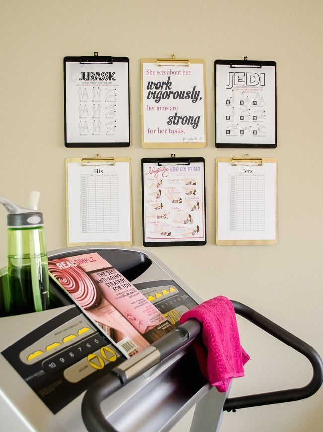 DIY a clipboard wall for your small-space home gym to help you display everything from the workout of the day to motivational quotes.