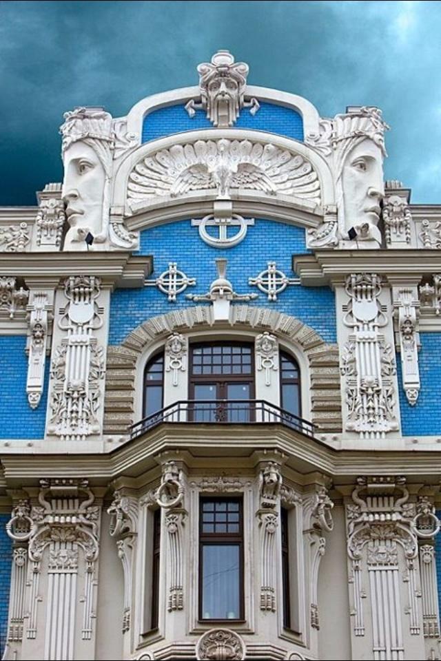Art Nouveau Architecture in Riga, Latvia .