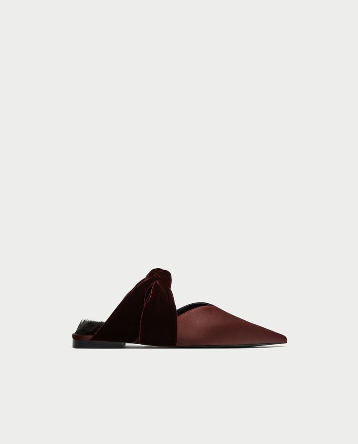 Image 2 of VELVET BACKLESS SHOES WITH BOW from Zara
