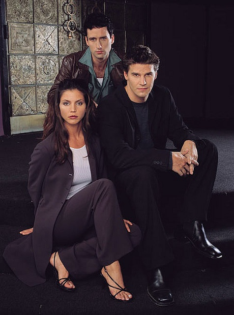 Angel Cast Season 1 - Angel, Cordelia and Doyle! I loved Doyle... very upset when they killed him off, and he died in real life soon after :(