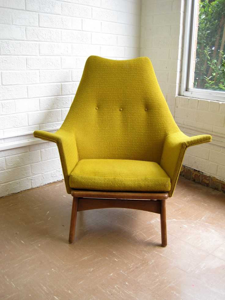 Mid Century Modern Lounge Chair in Mustard Yellow Chartreuse