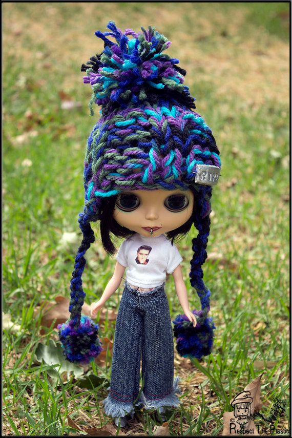 HAT  OCEAN  Off to Margs  Beanie/Hat for Blythe by minni64 on Etsy, $26.00