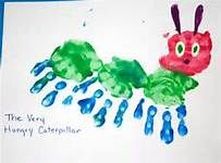 The Very Hungry Caterpillar Handprint Art  Soon cute!!