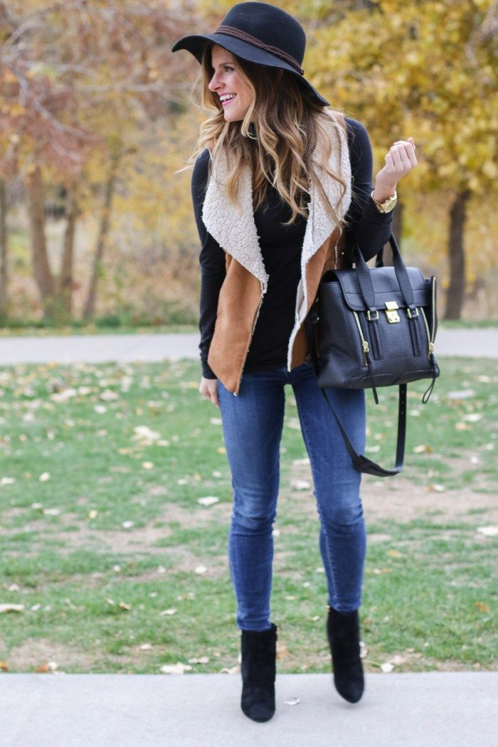 Shearling Vest Black Turtleneck Jeans Black Hat Fall Outfit-69