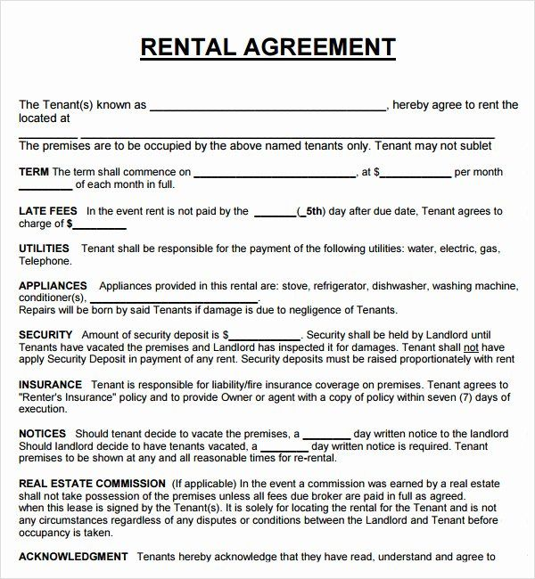House Rental Agreement Template New House Lease Agreement Pdf
