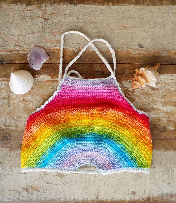 Crochet Rainbow Top // Crochet Top // Rainbow halter by saravah