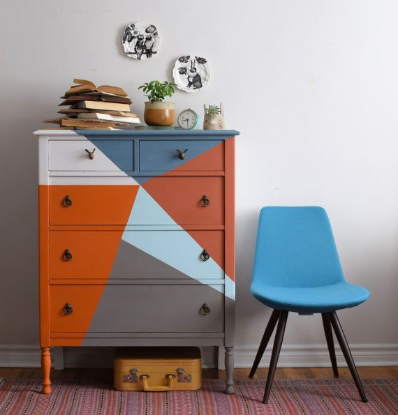 Multi Coloured Tallboy Dresser by Poppyseedliving on Etsy