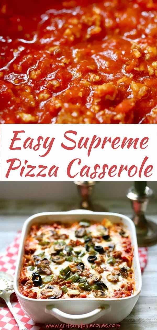 Easy Supreme Pizza Casserole Recipe Pizza Casserole Supreme