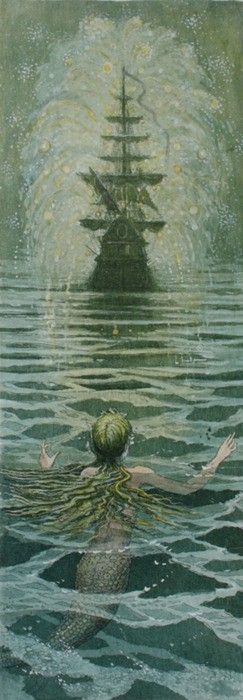 """Boris Diodorov - Illustrations for The Little Mermaid. """"Don't get me started,"""" said Father Tam."""