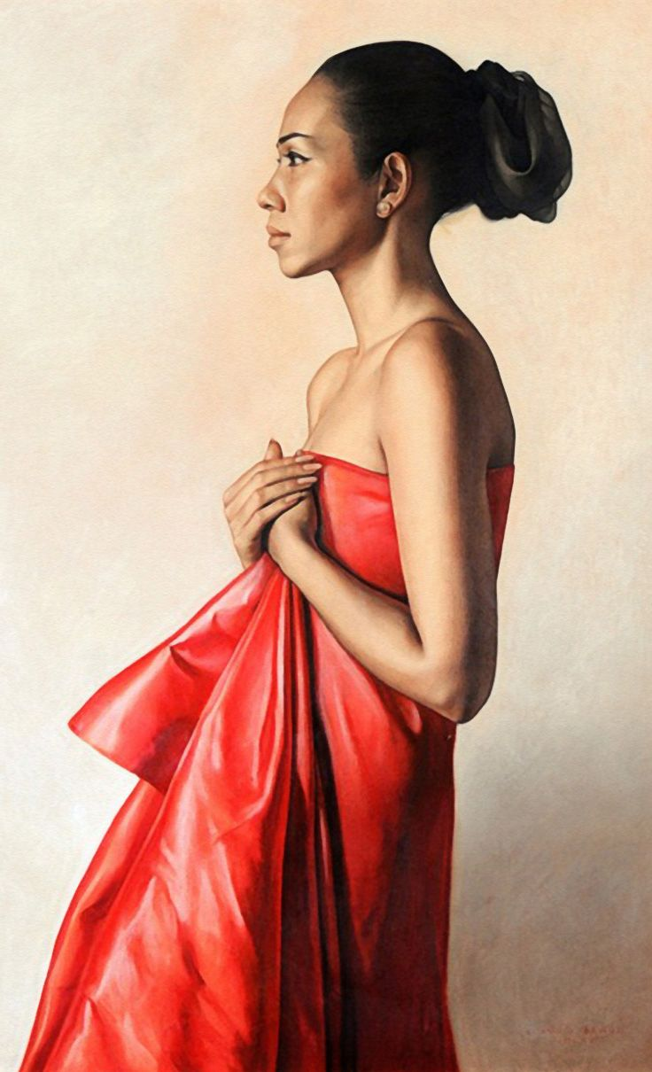 """""""Maria Lourdes Araneta Fores"""" - Claudio Bravo (Chilean, 1936–2011), graphite, charcoal, conte crayon and pastel on paper, 1968, Manila. The stance is inspired from Venus Pudica (meaning ashamed), but she appears is proud. {figurative realism beautiful female profile drawing. #arthistory #twentiethcentury #loveart}"""
