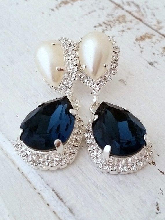 Navy blue pearl Chandelier earrings   Navy blue wedding   bridal earrings   Navy blue and pearl Drop by EldorTinaJewelry   http://etsy.me/1mf00vn