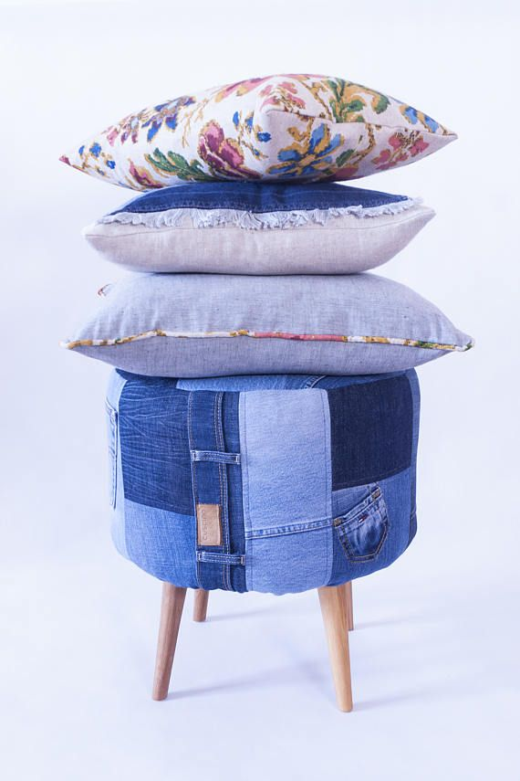 DENIM PATCHWORK  Unique original set  pouf footstool