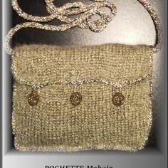 Pochette dorée mohair doublée tissus fait main en france