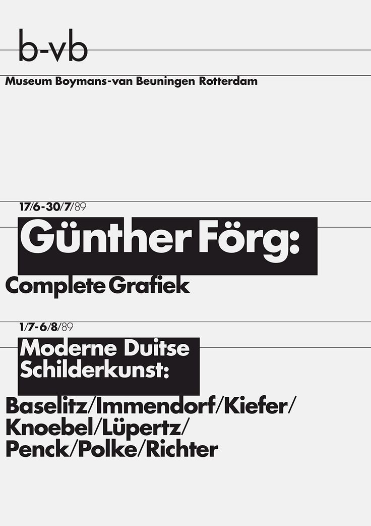 8vo. Museum Boymans-van Beuningen Rotterdam, exhibition poster, 1989. From 8vo On the Outside, Lars Müller, 2005