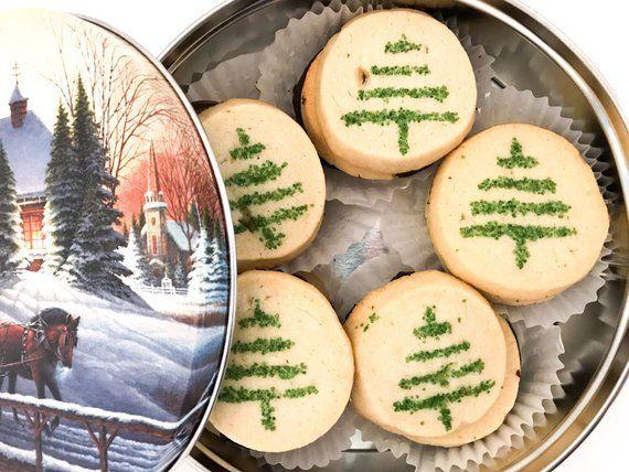 Christmas Tree Cookie Gift Basket Green Sprinkle Christmas Etsy