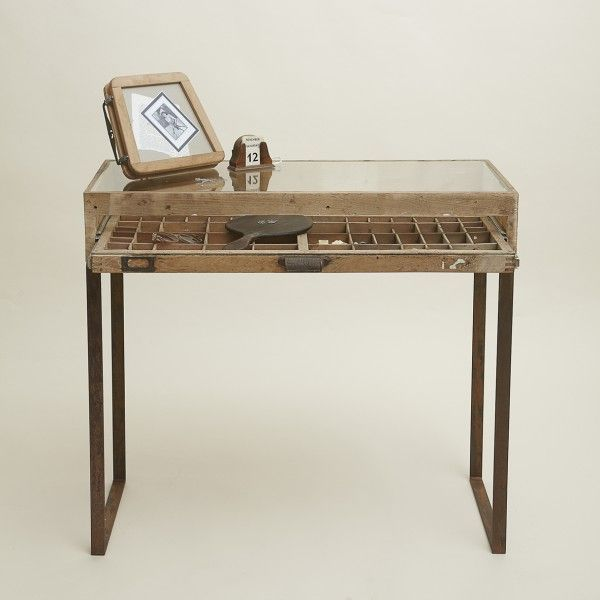 A Gl Top Table Created From An Original Printers Tray The Forms Drawer Of This Along With Its Handle
