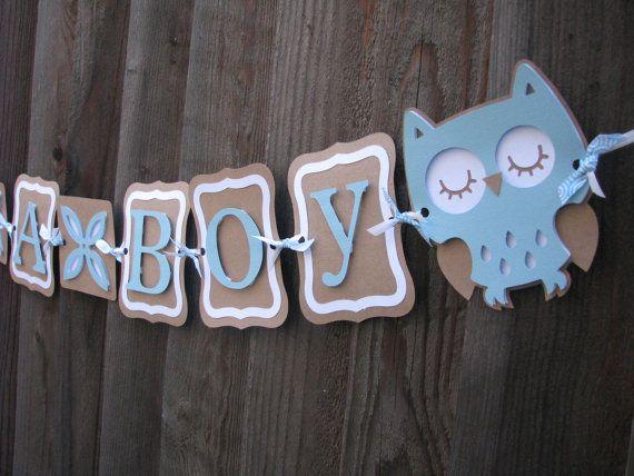 blue and kraft brown itu0027s a boy baby shower owl banner