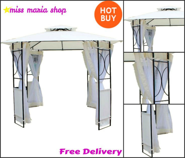 Waterproof Steel Gazebo Side Curtains Canopy Garden Patio BBQ Party 2.4m X 2.4m