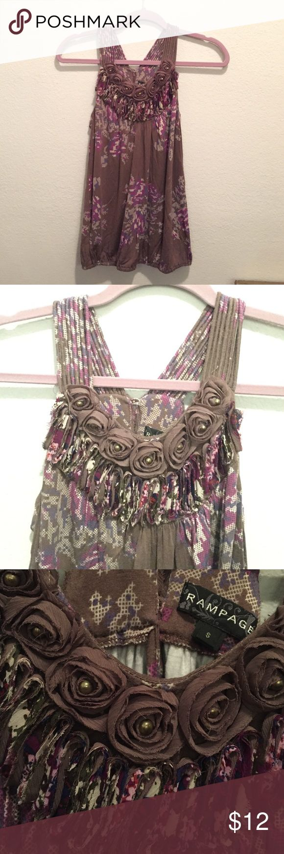 Classy razor cut tank top Loose feminine brown tank with light pixilated floral design. Gorgeous neck line. Revealing shoulders. Rampage Tops Tank Tops