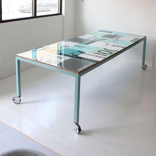 Table made from billboards, available in different colors. Each table is unique | Tafel gemaakt van bouwborden in verschillende kleuren. Elke tafel is uniek  http://tafel-design.nl/Bouwborden-tafel-p-16447.html