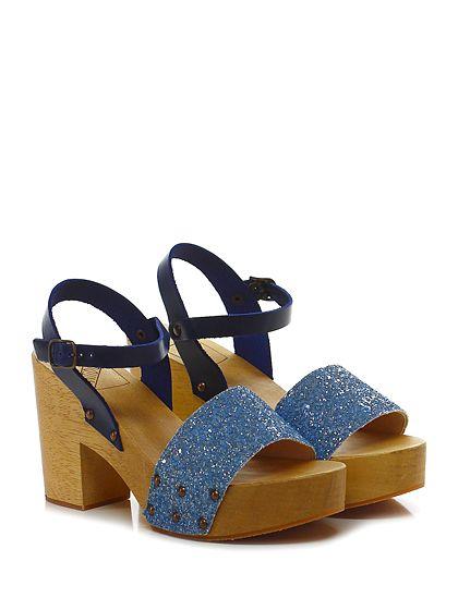 Antidoti - Sandalo alto - Donna - Sandalo alto in pelle e glitter con cinturino alla caviglia e suola in gomma. Tacco 95, platform 40 con battuta 55. - BLUETTE\BLU - € 95.00