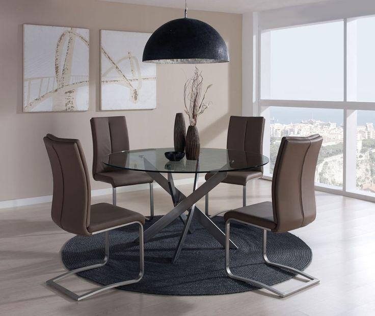 mesas de comedor redondas con tapa cristal