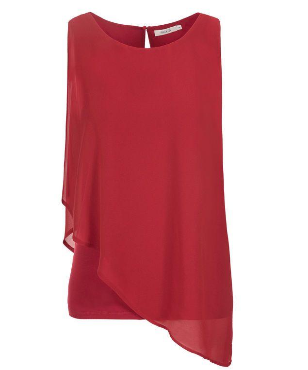 Asymmetric Woven Overlay Top, Poppy Red