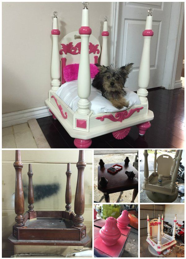 How to Turn Old End Table into Wood Pet Bed #diy, #repurpose, #furniture