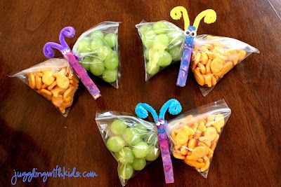 Butterfly Snacks! Cute idea for birthday treats for healthy snack schools. VBS
