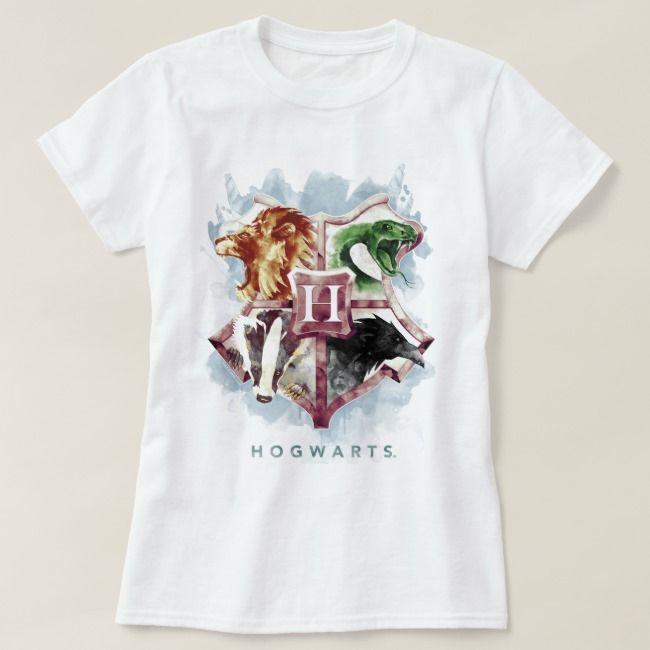 Harry Potter Hogwarts Crest Watercolor T Shirt Zazzle Com