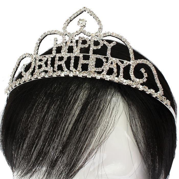 Rhinestone Crystal Hair Comb Happy Birthday Tiara