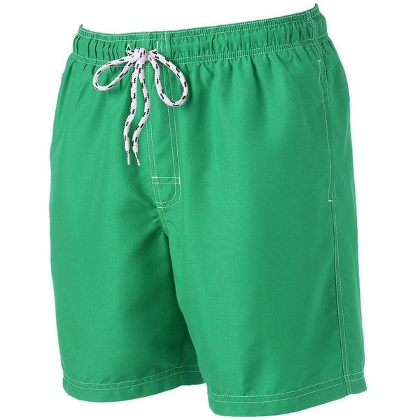 Big & Tall Men's Croft & Barrow® Solid Microfiber Swim Trunks ($27) ❤ liked on Polyvore featuring men's fashion, men's clothing, men's swimwear, marine green, tall mens clothing, mens big and tall swimwear, tall mens swimwear, big & tall mens clothing and big and tall mens clothing