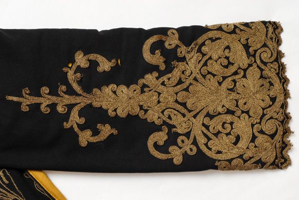 Detail of terzidikos (gold tailored) embroidery at the sleeve