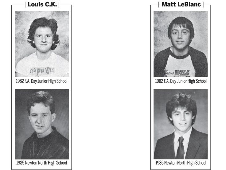 Yearbook photos of Louis CK and Matt LeBlanc who went to school together. 1982-1985