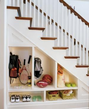 So doing this! We need a mudroom, but only have a tiny entryway. Finally, an out-of-the-way place for soccer cleats, rain boots and work shoes!