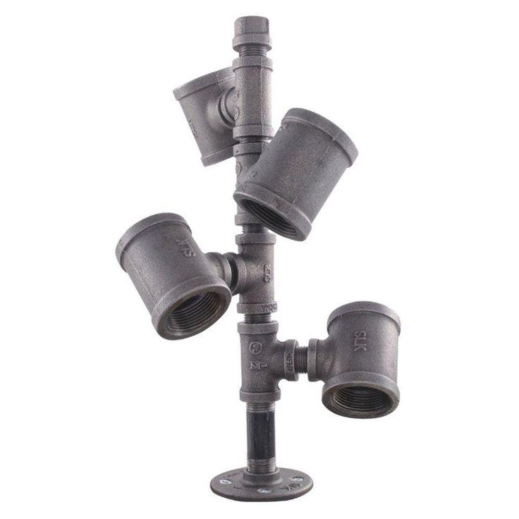 Pipe Decor Black Iron Pipe Wine Rack Kit Industrial Steel Grey